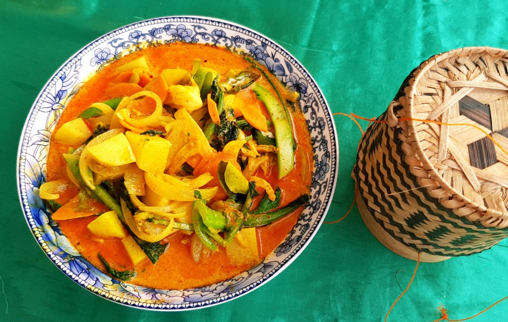Red curry with sticky rice in Luang Prabang