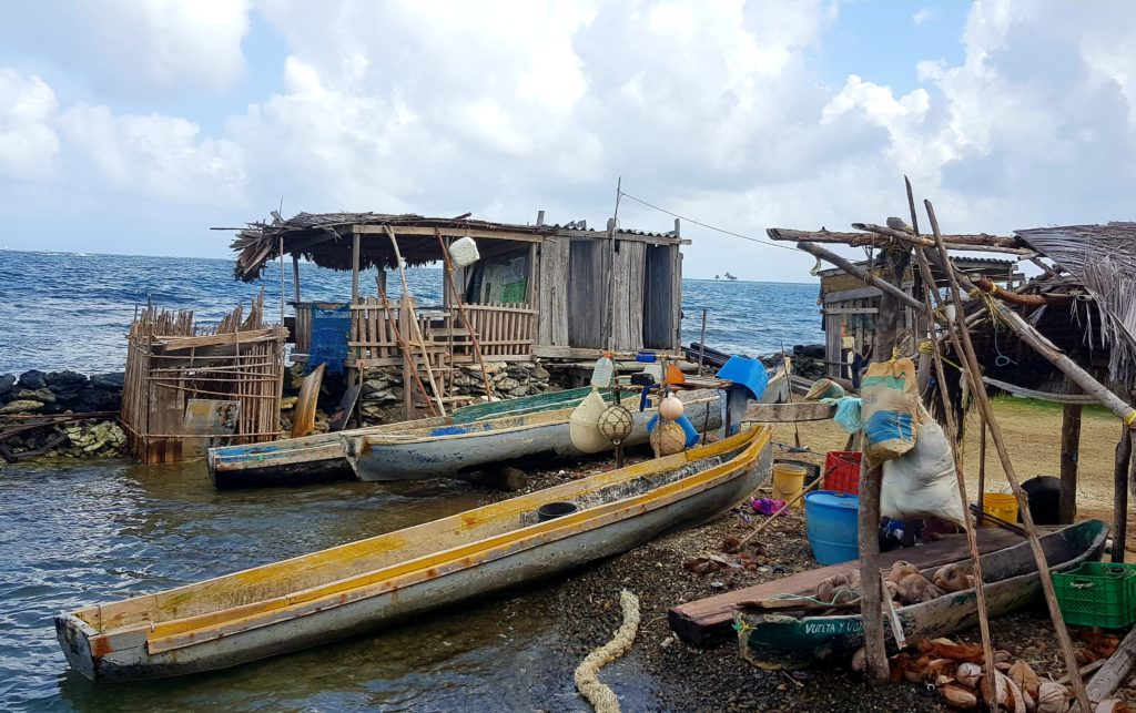 Boats in Kuna Yala village, San Blas